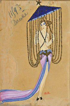 Zig (Louis Gaudin)  Egyptian inspired Costume Design for Folies Bergere Paris, 1920s
