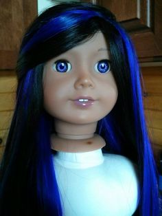 Custom american girl girl doll with hand painted eyes and blue streaks https://www.facebook.com/ZazouDolls