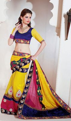 Blue, Pink and Yellow Embroidered Silk Saree Price: Usa Dollar $155, British UK Pound £91, Euro114, Canada CA$167 , Indian Rs8370.