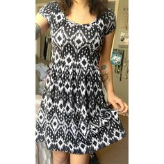 Black and White Dress Very flattering skater fit, also super soft and easy to wear. Wear this with a cute denim jacket and some sneakers for a cool, casual outfit. Dresses