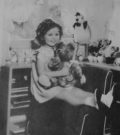 Shirley Temple with teddy bear ,1936.