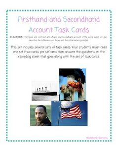 Hey 4th grade teachers...need a resource for teaching firsthand and secondhand account check this out!