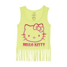 Hello Kitty Fringe Tank ($9.99) ❤ liked on Polyvore featuring tops, shirts, hello kitty, tank tops, tanks, graphic tees, graphic design shirts, graphic tops, graphic shirts and fringe tank