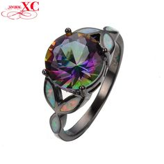 Dudee Jewelry Personality Rainbow Fire Opal Ring Black Gold Filled Unique Jewelry Wedding Big Bright Zircon Ring Men RB0289. High Quality Product. High Polished / Fine Workmanship. Never Fade / Scratchproof and Anti - Allergy. Pack with Beautiful Bag as a Gift. Size info is estimate, if concern, Please leave me message.