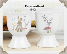 Personalise this Easter Bunny egg cup with a name up to 12 characters in length. Do not use all capital letters. Suitable for large eggs. Bone china.