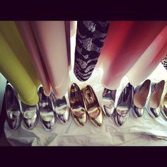 Killer metallic heels at @erinfetherston. #nyfw