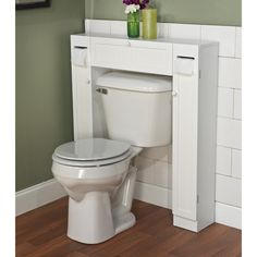 Over Toilet Cabinet. This clever and versatile bathroom space saver from Simple Living allows you to utilize extra space for all your bathroom storage needs. Space saver includes a center cabinet and two side cabinets. Over The Toilet Cabinet, Bathroom Storage Over Toilet, Toilet Storage, Bathroom Laundry, Bathroom Towels, White Bathroom, Bathroom Cabinets, Bathroom Furniture, Bathroom Shelves