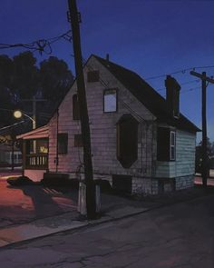 Daylight savings time is rolling up on us fast, and these nocturnal paintings by Christopher Burk are helping me get. Urban Landscape, Abstract Landscape, Italian Village, Daylight Savings Time, A Level Art, Hyperrealism, Rural Area, Art For Art Sake, Out Of This World