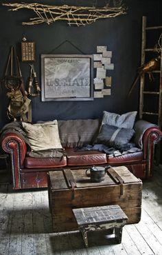 #Vintage #masculine #interior design.