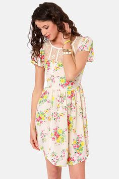 Bloom for Improvement Cream Floral Print Dress #lulus