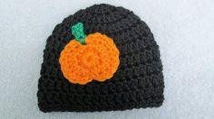 Halloween Baby Hat Crochet Newborn Pumpkin by TheFlyButterFactory, $9.00