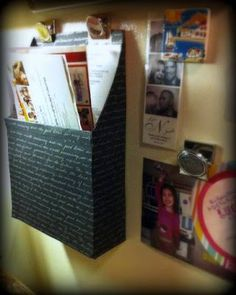 Simple DIY mail holder that costs $3!! This is a Cereal box! Doing this today....