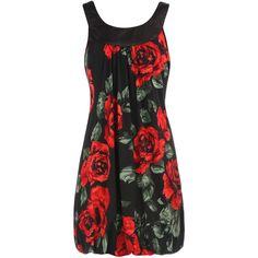Black/red rose print dress ❤ liked on Polyvore
