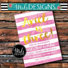GIRLS BIRTHDAY STRIPES 1st 2nd 3rd Little Girl Simple Pink Custom Party Invitations, Digital Invitations, Birthday Design, Third Birthday, Rsvp, Little Girls, Projects To Try, Stripes, Wall Art