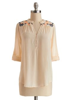 Yurt and Mine Top - Sheer, Woven, Mid-length, Cream, Solid, Embroidery, Festival, Boho, Spring, Better, White, Tab Sleeve, Buttons, 3/4 Slee...