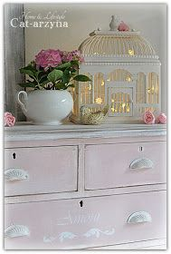 Painted dresser, with birdcage lights
