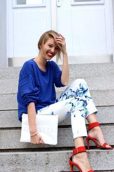 printed pants + heels