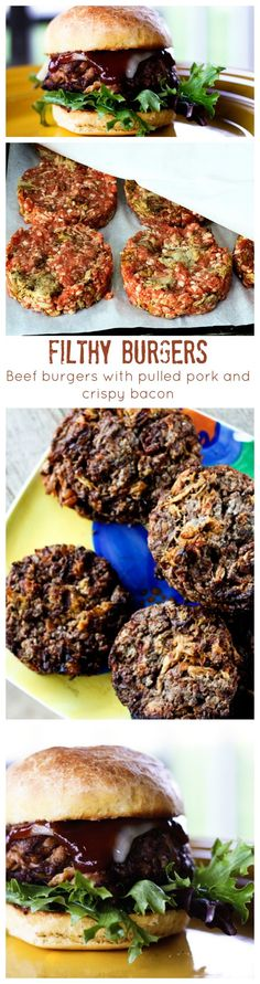 Filthy Burgers: beef burgers laced with pulled pork and crispy bacon.