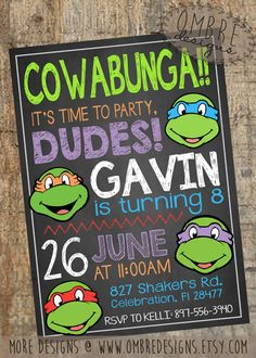 This Chalkboard TMNT Invite is perfect for any Ninja Turtles Party!My favorite Ninja Turtle Invitation design! This Chalkboard TMNT Invite is perfect for any Ninja Turtles Party! Ninja Turtle Party, Ninja Turtles, Ninja Party, Ninja Turtle Birthday, Turtle Birthday Parties, Birthday Fun, Birthday Party Themes, Birthday Invitations, Birthday Ideas