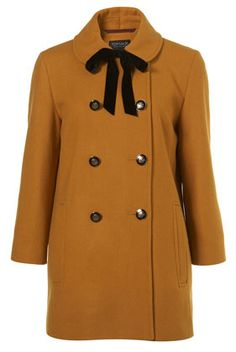 Mustard Velvet Tie Double Breasted Coat - Jackets & Coats - Clothing - Topshop USA