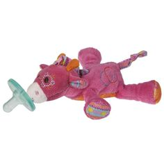 The WubbaNub Jasmine Giraffe Pacifier toy is 6 inches long and features an ultra-soft polyester fabric construction. This toy includes a Soothie brand pacifier which provides babies more fun during soothing time.