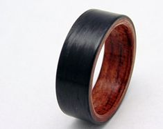 Santos Palisander und Kohlefaser-Ring Handarbeit Holz ring