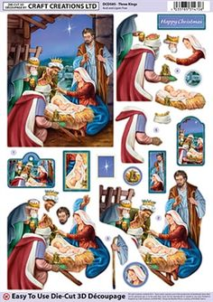 Award-winning craft products from the 'Best British Brand' Craft Creations. Free UK Delivery on orders over We provide quality card, MDF, and decoupage at unbeatable prices. Christmas Nativity Scene, 3d Christmas, Christmas Cards To Make, Christmas Images, Vintage Christmas, Christmas Decoupage, Christmas Paper Crafts, Decoupage Vintage, Decoupage Paper