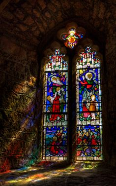 """""""Stained Glass, St Michael's Mount, Cornwall"""" by Derek Finch"""