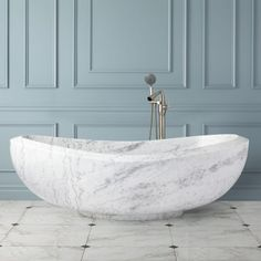 """72"""" Bessboro Polished Moon White Marble Tub"""