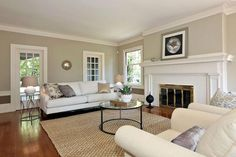 Living room with fireplace!