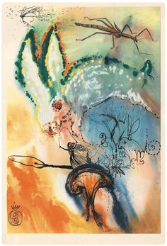"""""""Down the Rabbit Hole"""" by Salvador Dali. One of several illustrations Dali created for Lewis Carroll's book, Alice in Wonderland. Art And Illustration, Vintage Illustrations, Rabbit Illustration, Lewis Carroll, Salvador Dali Kunst, Alice In Wonderland Illustrations, Max Ernst, Adventures In Wonderland, Art Moderne"""