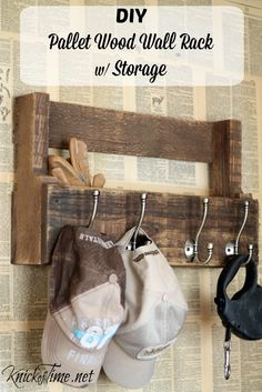 Pallet Wood Coat and Storage Wall Rack at KnickofTime.net