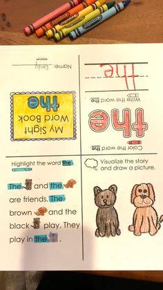Sight Words For Kindergarten, Teaching Sight Words, Sight Word Activities, Reading Activities, Kindergarten Activities, Preschool Crafts, Sight Word Booklets, Reading Words, Second Grade Teacher