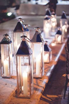 long white candle lanterns
