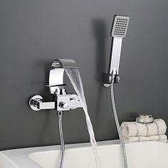 Chromed Waterfall Wall Mounted Roman Bathroom Faucet With Hand Shower Roman Bathroom, Best Bathroom Faucets, Cheap Bathrooms, Amazing Bathrooms, Waterfall Faucet, White Rooms, Buying Wholesale, Chrome Finish, Wall Mount