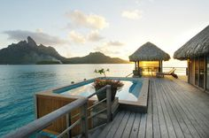 The ultimate overwater bungalow - The St. Regis' Royal Overwater Bungalow which features a pool on the deck and breathtaking views of the mountain. Can't wait to go back and stay in this accommodation!