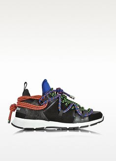 Bungy Jump Black Leather And Fabric Sneaker