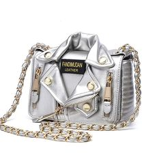 Moschino Biker Jacket Womens Small Leather Shoulder Bag Silver