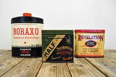 Vintage Household Tins Pipe Tobacco Powdered Soap