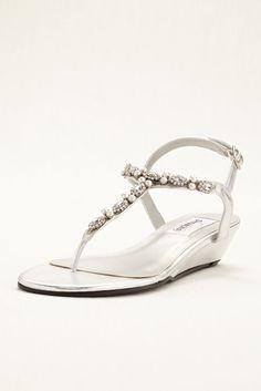 Metallic Dyeable Myra Low Wedge Thong Wedding & Bridesmaid Sandal - Silver, 9 Women's