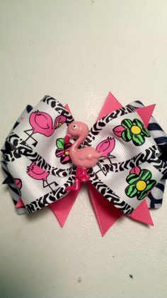 Zebra & Flamingo Hair Bow for Girls Babies and Toddlers by tedarla, $7.00