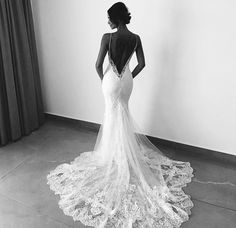 Spaghetti Straps Sexy Backless Lace V-neck Mermaid Wedding Dresses Source by . - Spaghetti Straps Sexy Backless Lace V-neck Mermaid Wedding Dresses Source by - Wedding Robe, Backless Lace Wedding Dress, Wedding Dresses 2018, Lace Mermaid Wedding Dress, Wedding Dress Trends, Mermaid Dresses, Bridal Dresses, Backless Dresses, Wedding Ideas
