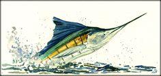 Marlin sailfish billfish sport fish fishing salt water wildlife animal cm art original Watercolor painting by Juan bosco Salt Water Fish, Salt And Water, Watercolor Sketchbook, Watercolor Paintings, Marlin Azul, Sea Life Art, Underwater Sea, Fish Art, Easy Paintings