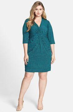 Donna Ricco Print Knot Front Jersey Dress (Plus Size)