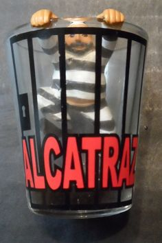 $19.95/ 3-D Alcatraz Prison (San Francisco Bay) Shot Glass features a male Prisoner / Jailbird trying to clim out of the glass. Barware, Bartender, Bartending~ ~~view over 575 items in 25 categories of merchandise in my ebay store. I ship globally~ www.shellyssweetfinds.com