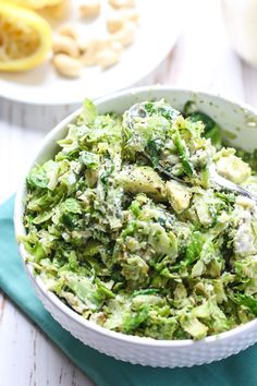 STOVETOP SHREDDED BRUSSELS SPROUTS WITH LEMON PEPPER CASHEW DRESSING
