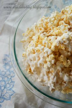 Marshmallow Popcorn - In a heavy pan, melt 1 1/2 sticks butter {the real stuff}. Add 1 1/2 bags of miniature marshmallows and stir until all melted together.  In a big bowl, mix the marshmallow buttery goodness with the popcorn. Fold, and stir together