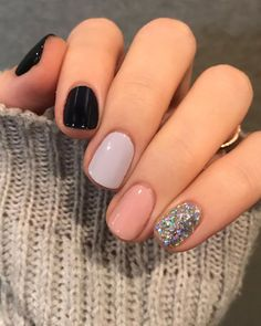 Classy Nails, Fancy Nails, Simple Nails, Trendy Nails, Cute Nails, Gelish Nails, Shellac On Short Nails, Diy Nails, Black Gel Nails