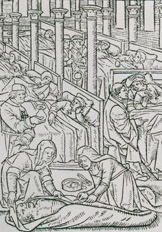 A woodcut (15th/16th C?) of medical treatment by the Order of St John.