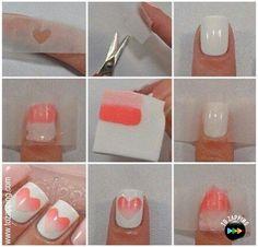 Truco para pintarte las uñas con degradado. Y además en forma de corazón :)